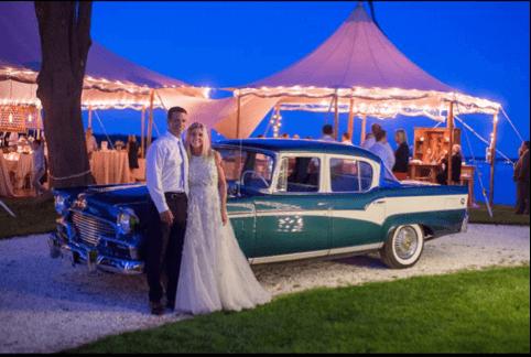 Classic Car at Wedding in Maine