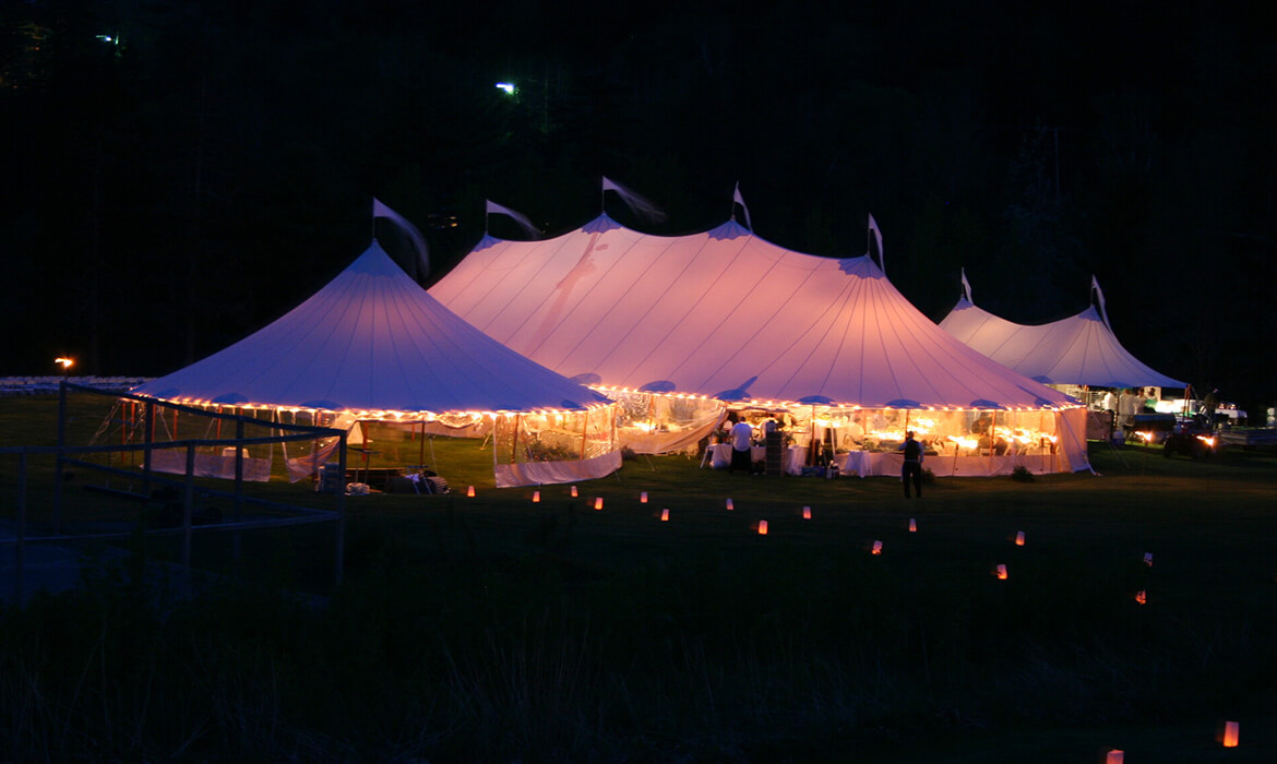 Night View of Sailcloth Wedding Tent