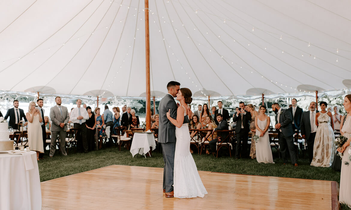 Dancing in Sailcloth Wedding Tent Rental