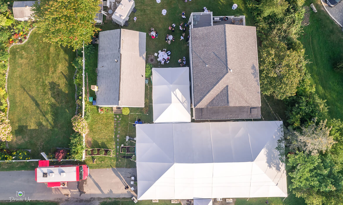 Aerial View of Traditional Frame Wedding Tent Rental