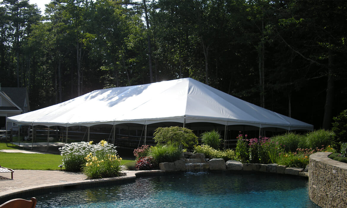 Traditional Wedding Tent Rental in front of Pool