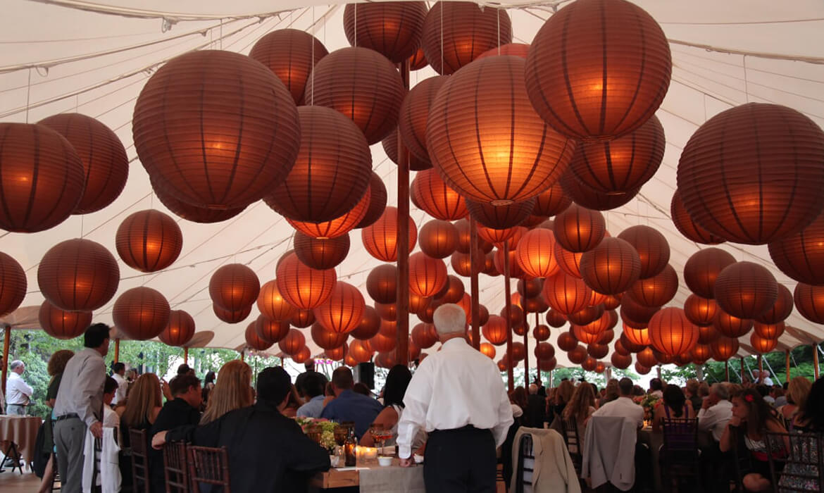 Red Asian Lanterns at wedding