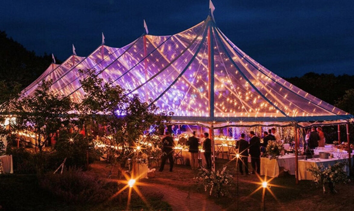 Bistro Lighting in Clear Wedding Tent