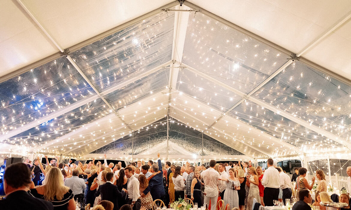Bistro Lighting in Bayview Wedding Tent
