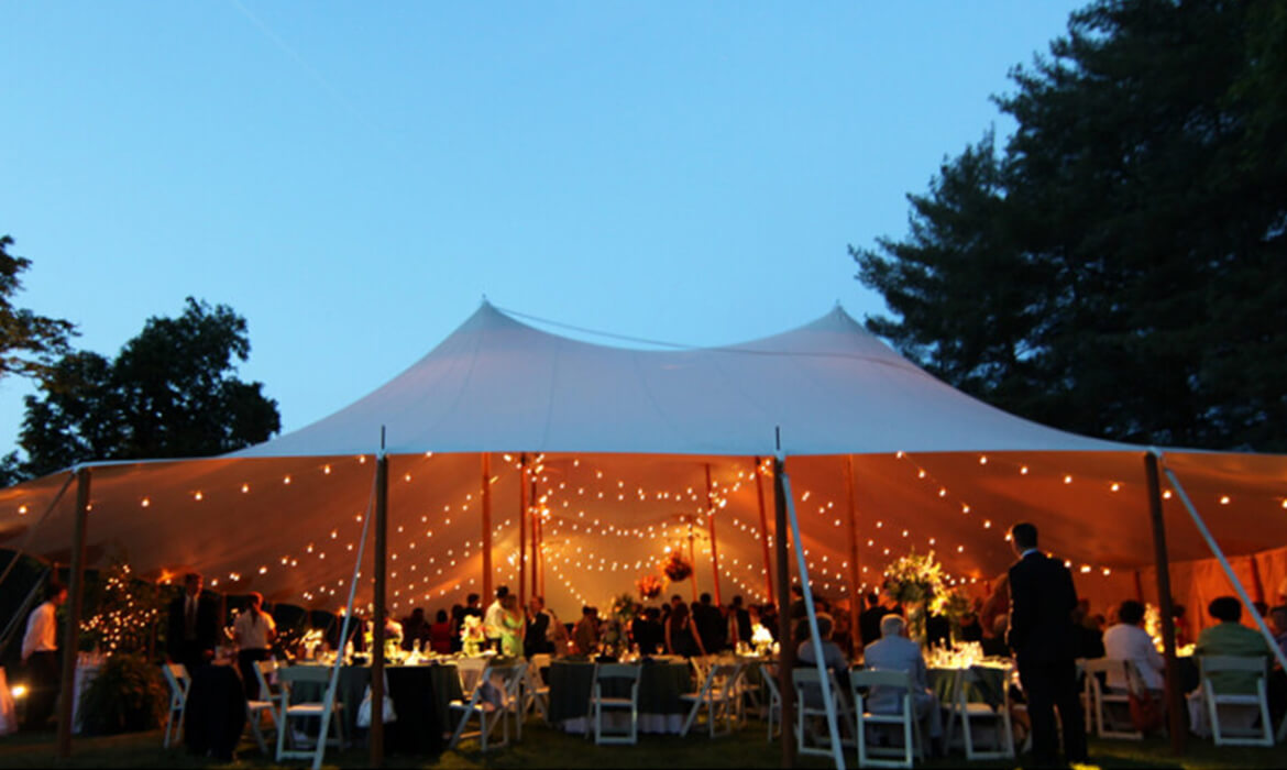 Bistro Lighting at Night Wedding
