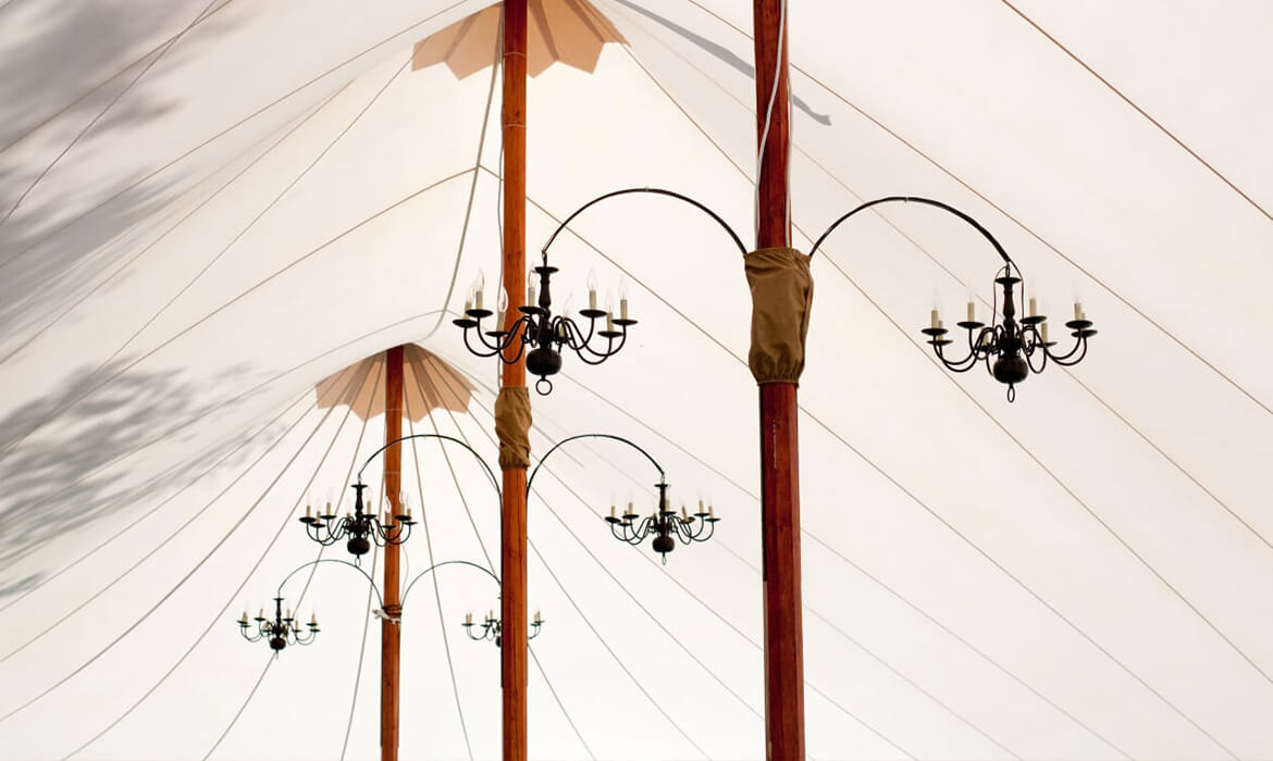 Candelabra in Sperry Sailcloth Wedding Tent