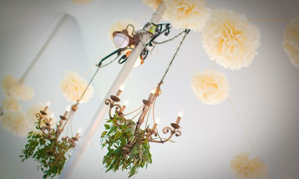 Close up of Chandeliers at Wedding