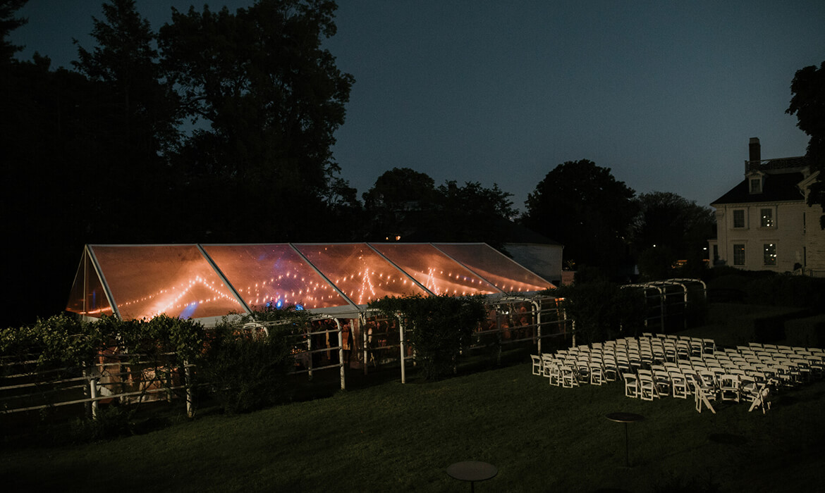 Night view of clear frame wedding tent