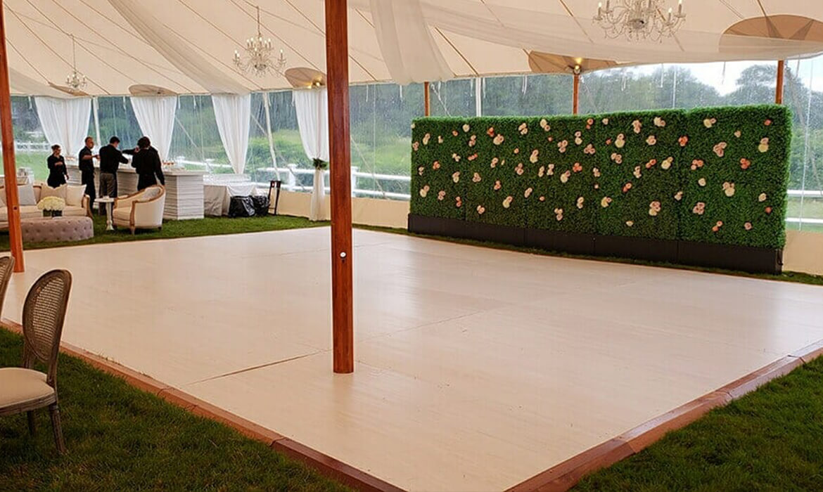 Dance Floor Rental for Wedding - Green Wall