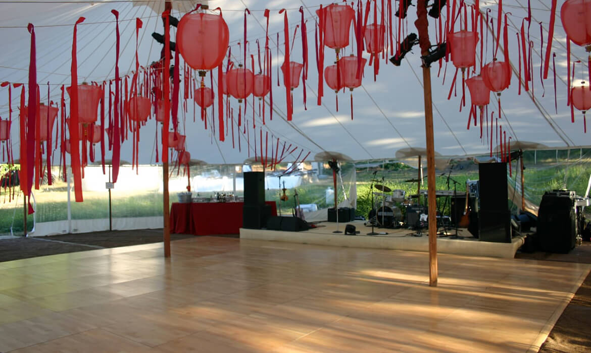 Dance Floor with Band Stage Wedding Rental