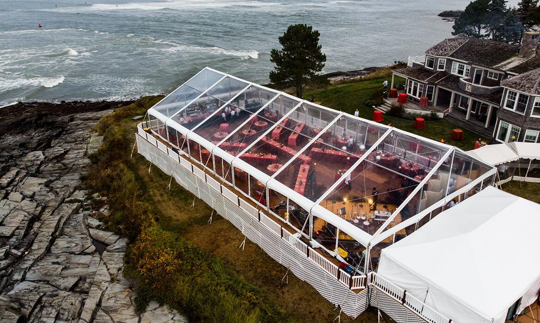 Leveled Wedding Floor Rental on Maine Coast