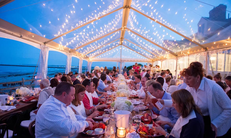 Lobster Dinner under Clear Frame Wedding Tent