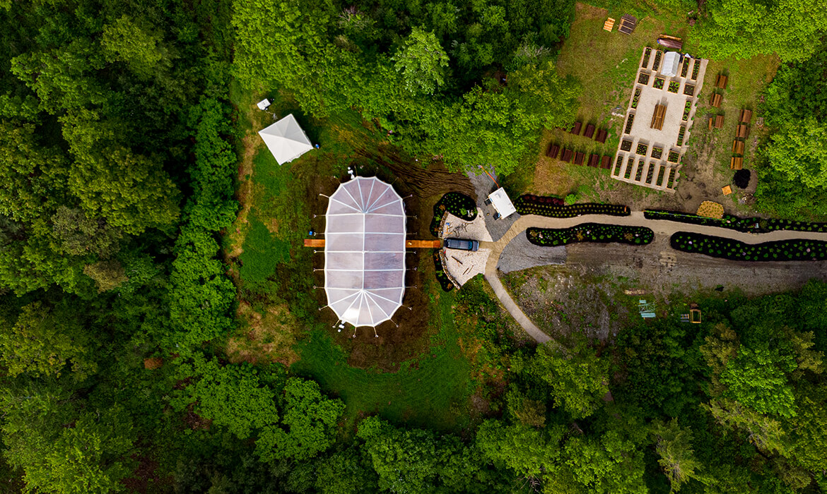 Top view of Coastal Clear Wedding Tent Rental