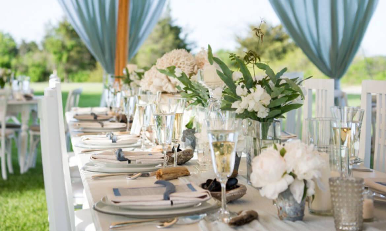 Closeup of dishware & glassware at wedding