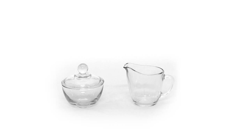 Clear Sugar Bowl & Creamer