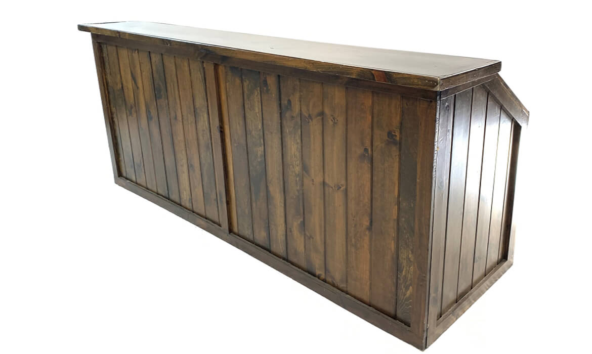 8ft Dark Wood Bar Side View