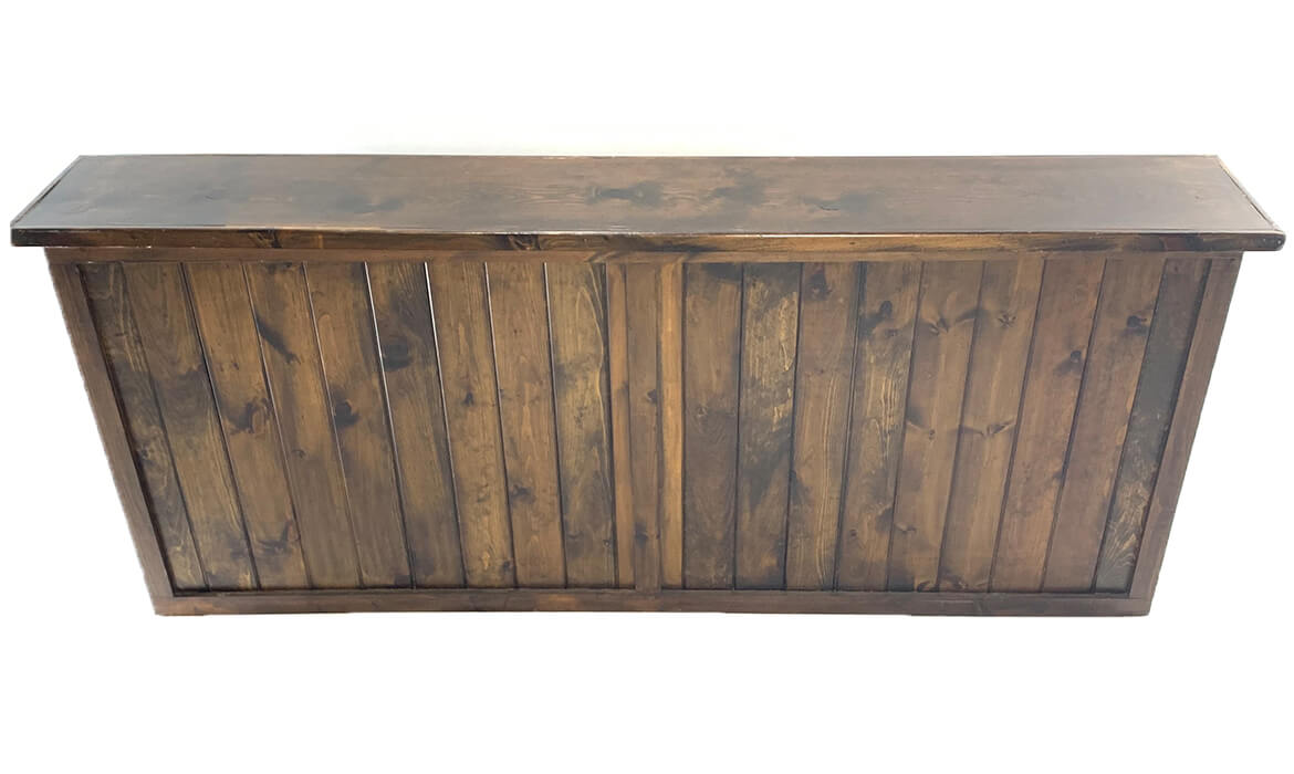 8ft Dark Wood Bar Front View