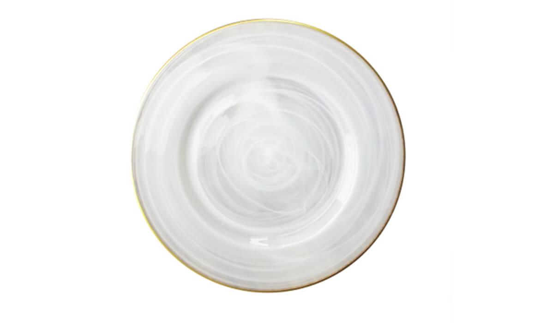 White Swirled with Gold Rim